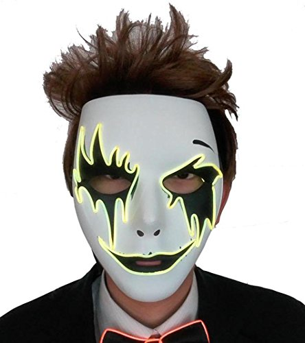 [galaxyhkt cosplay EL Light Up Melbourne shuffle Halloween party mask (yellow)] (Thunder Lightning Costume)