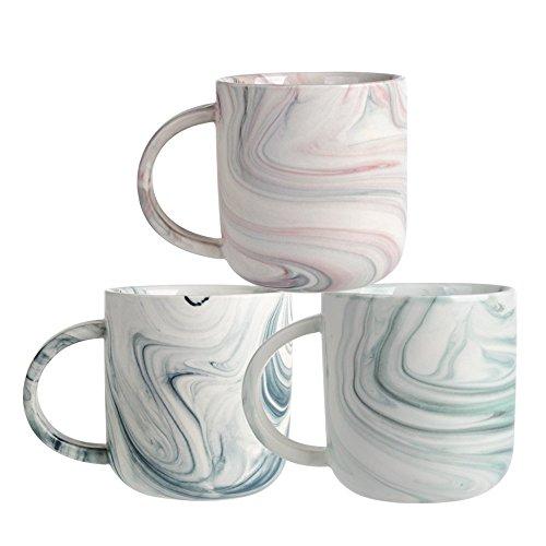 Ceramic Marbled Mug Set of 3, Coffee Mug set, Mixed Colors