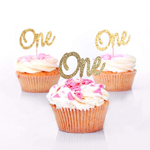 First Birthday Cupcake Toppers. ONE Birthday Picks. Gold Glittered Princess First Birthday Party Decorations - 24CT