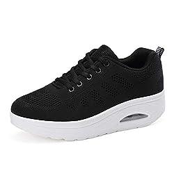 Wallhewb Women Light Summer Platform Sneakers Fashion Casual Wedge Sneakers Internal Increasing Soft Skinny No Griding Feet Leg Length Joker Highten Increasing Elegant Black 6 M Us Casual Shoes