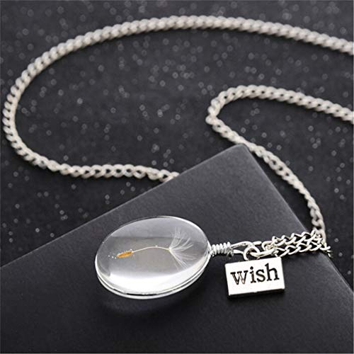 Myhouse Natural Dandelion Glass Ball Necklace Pendant Chain Necklace Charm Accessories for Women Girls, A