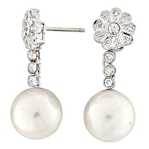 Boucles d'oreilles mariée argent de loi 9252ml détachable avec microengaste en zircon et perle australienne 12mm fermeture pression