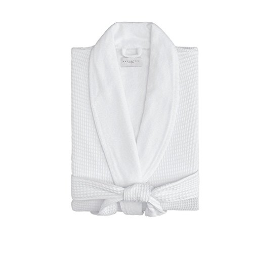 - Kassatex Waffle Terry Bathrobe Collection, 100% Cotton, Made in Turkey (Waffle Outside, Thick Terry Inside - S/M - White