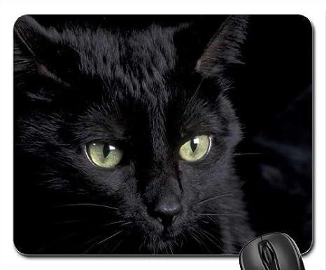 a4e70d99ee7a17 Un chat noir avec yeux verts Tapis de souris, tapis de souris tapis de  souris