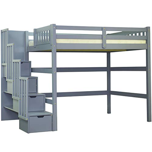 Full Size Staircase Loft Bed Grey