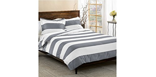 UNK 3pc Grey White Rugby Stripes Duvet Cover King Set Cal King, Gray Cabana Striped Bedding Hotel Like 600 Thread Count Nautical Solid Color Sports Themed, Cotton Polyester Blend Sateen Soft Button (Cover Stripe Polyester)