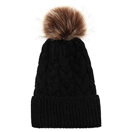 - Sunshinehomely Baby Soft Winter Warm Knitting Wool Hemming Hat Keep Warm Winter Fur Ball Hat Cap (Black)