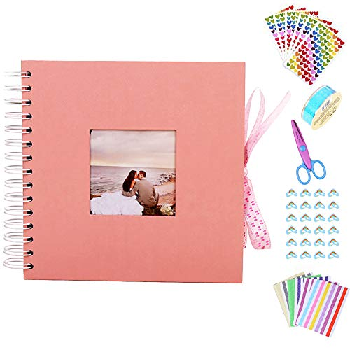 Anleymu Scrapbook, Photo Album with Photo Opening, High-end Guest Book for Valentines Day, Wedding Guest Book, DIY Anniversary Travel Memory Scrapbooking with Scrapbook Accessories (Pink, 12 inch)