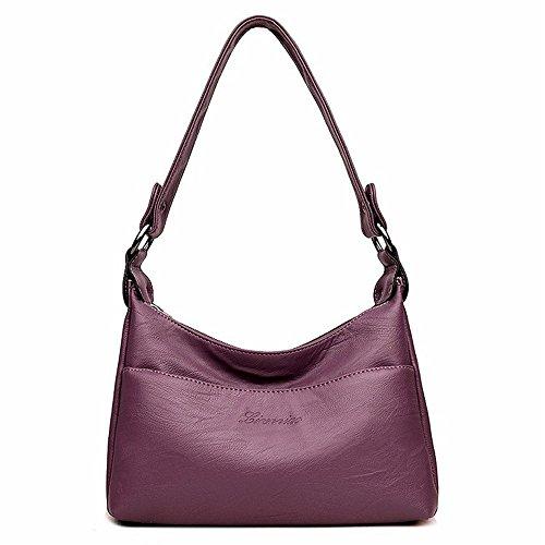 Alovhad Fashion Shoulder Crossbody Bags Handbag Messenger Hobo Tote Bags Purse Soft PU Leather Top Handle Bags for Women (Purple)