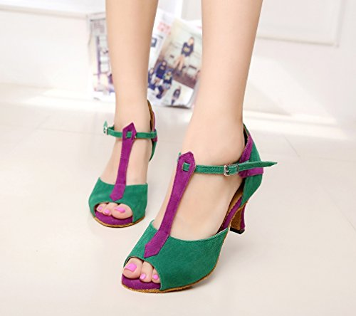 Women's QJ6212 Green Shoes UK M 6 Satin Strap 5 T MINITOO Buckle Ballroom Dance 6pwdR5qaq