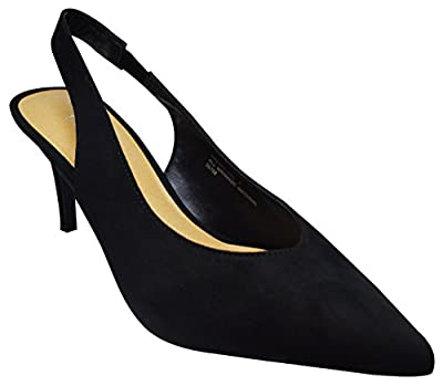 Bamboo Prevail-08S Womens Pointy Toe Sling Back High Heel Pump Black Fs Size 10