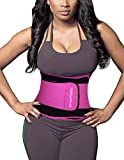 SHAPERX Waist Trainer Sweet Sweat Bands Trimmer Ab Belts Double Support for Weight Loss Men Women,SZ8011-Rose-L
