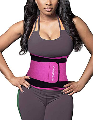 SHAPERX Waist Trainer Sweet Sweat Bands Trimmer Ab Belts Double Support for Weight Loss Men Women,SZ8011-Rose-L (Best Waist Trimmer Sweat Belt)