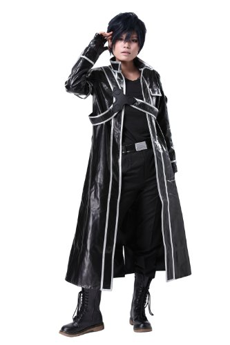 Sword Art Online Kazuto Kirigaya Kirito Pleather Cosplay Costume in Medium Size - Cosplay Video Character Game