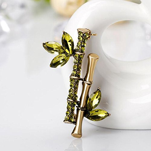 Modogirl Fashion Bamboo Brooch Pin Safety Pins Green Crystal Corsage Gold Plated for Girls Women Gift