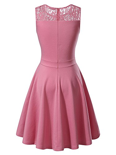 KIRA Women's Sleeveless A-Line Evening Party Lace Cocktail Dress (Large, Pink)