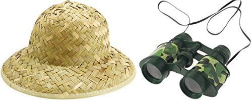 Jungle Safari Adventure Set - Pith Hat + Camouflage Binoculars