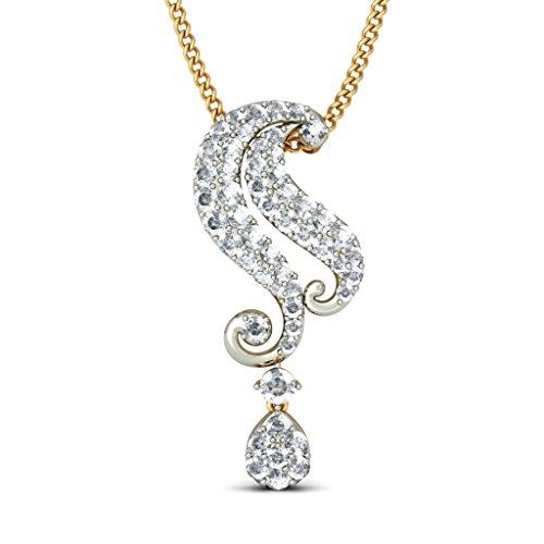 14K Or jaune 0.49CT TW Round-cut-diamond (IJ | SI) Pendentif