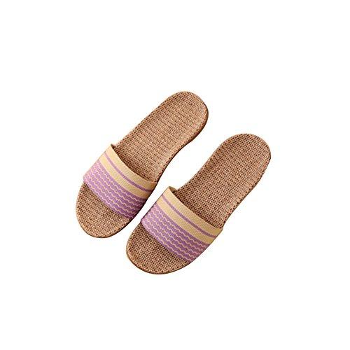 TELLW Feste Farbe Samt Korallen Dicke Warme Hölzern Boden Winter Hausschuhe und Outdoor Cotton-Loving Womens und Mens Hausschuhe Purple