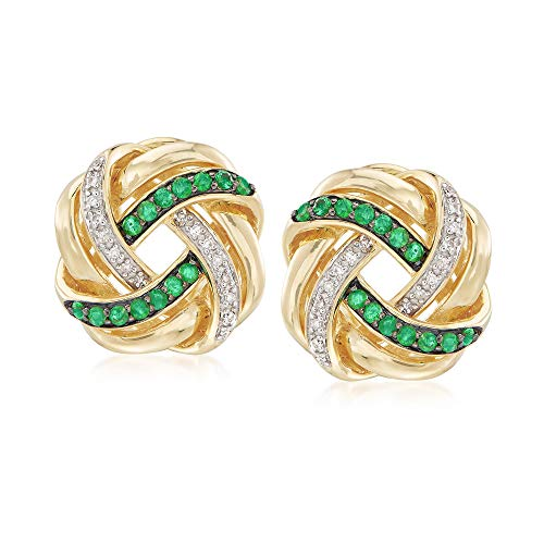 - Ross-Simons 0.40 ct. t.w. Emerald and .10 ct. t.w. Diamond Love Knot Earrings in 18kt Gold Over Sterling