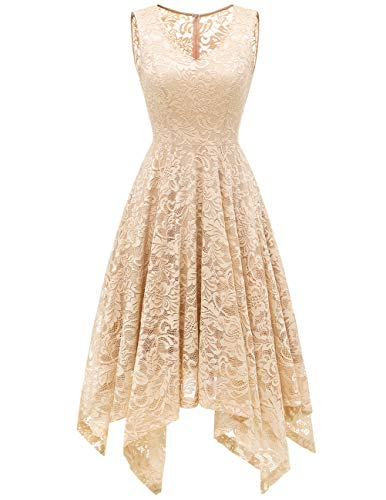 - Meetjen Women's Elegant Floral Lace Sleeveless Handkerchief Hem Asymmetrical Cocktail Party Swing Dress Champagne M