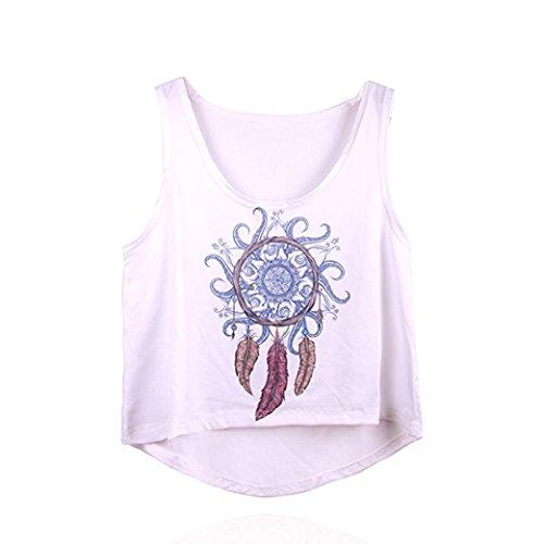 Lisingtool Women's Sleeveless Tops Crop Tank Vest Shirt Tee (S, White)