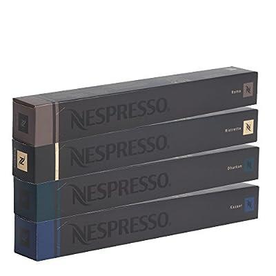 Nespresso OriginalLine Espresso Capsules, Roma, Ristretto, Dharkan, Kazaar, 40Count pods