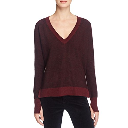 rag & bone Womens V-Neck Knit V-Neck Sweater Red S Cashmere Bone China