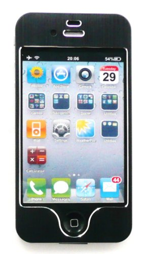 Emartbuy Apple Iphone 4G 4 4S 4GS HD LCD displayschutz Und Brushed alumimium Effect Front-und Back-Aufkleber / Case / Cover Black