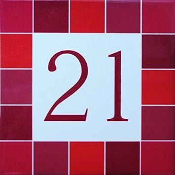 AzulDecor35 Street Anzahl Platte Steinfliesen W/ählen Sie Ihre Nummer! 15x15x0,5 cm