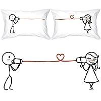 BoldLoft Say I Love You Parejas Fundas de almohada-Regalos para ella para el día de San Valentín, aniversario, bodas, regalos de pareja para él y para ella, regalos para él y ella, regalos románticos para novia, novio, esposo, esposa