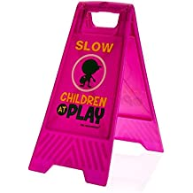 """Children at Play Caution Sign (Double-Sided, Purple) - """"Slow, Children at Play"""""""