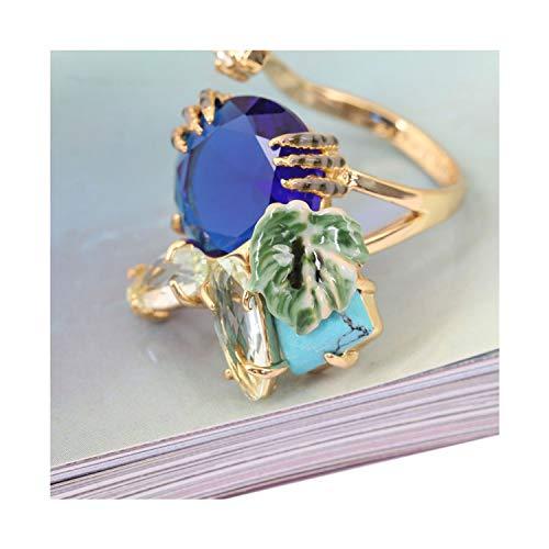 Blue Crystal Leaf Luxury Enamel Ring Women Fashion Charm Jewellery,Blue,Light Yellow Gold Color (Ring Blue Enamel Wonderland)
