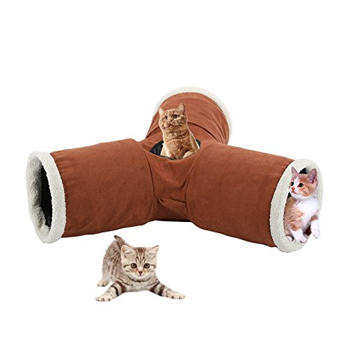 CO-Z 3-Way Collapsible Pet Toy Tunnel for Cat, Rabbit, Puppy, Kitty, Kitten, Indoor or Outdoor Use