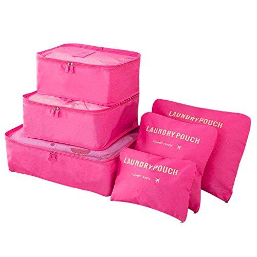 Gycinda 6pcs Travel Luggage Packing Organizer, 3 Travel Packing Cubes + 3 Laundry Pouches, Waterproof Durable Travel Storage Bag (Rose red)