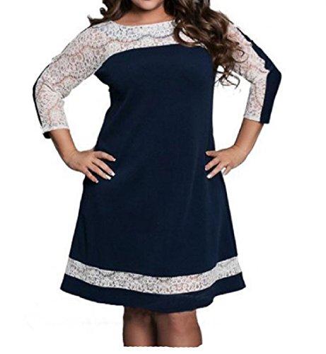 Coolred-femmes Dentelle Taille Plus Élégante Stiching Partie Confortable Simple Robe Bleu Foncé