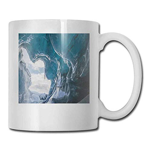 Cave Porcelain Mugs for Coffee Inside of the Famous Vatnajokull Glacier in Iceland with Icicles Made of Ceramic Charcoal Grey Pale Blue White 11oz