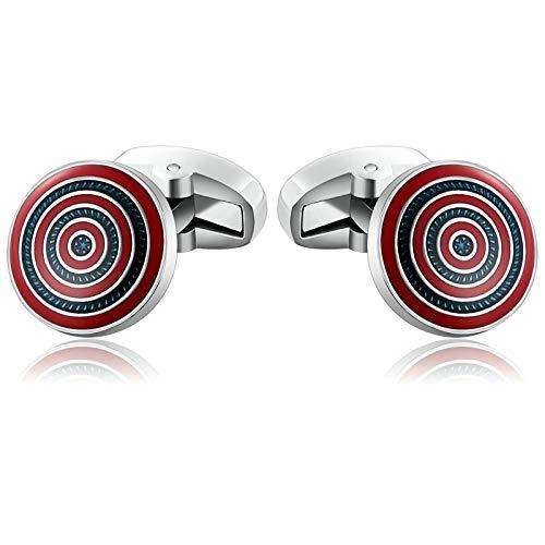 Nfl Shield Cufflinks - Aokarry Cufflinks - Men's Surgical Steel Cuff Links Red Round Shield
