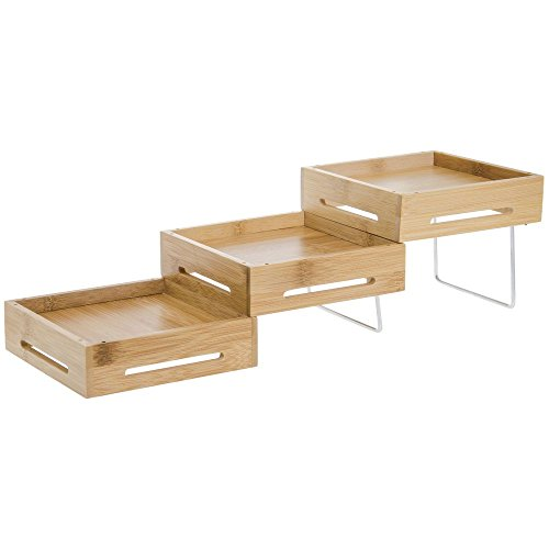 """Tablecraft Geo-mates Natural Wood Expandable Display Riser - 5 1/4""""Square x 4 1/2""""H"""