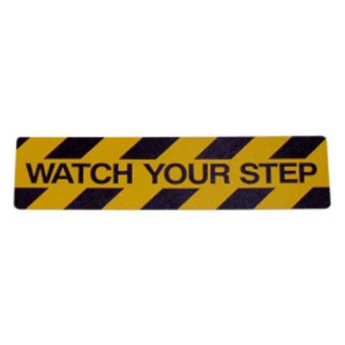 Datrex JM33606X24WATCM, 6'' x 24'' Nonskid Safety Track Cleat - Watch Your Step, Yellow/Black, 1 Pack