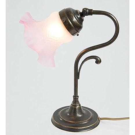 Lámpara de mesa con tulipas latón, acabado pulido con cristal rojo ...