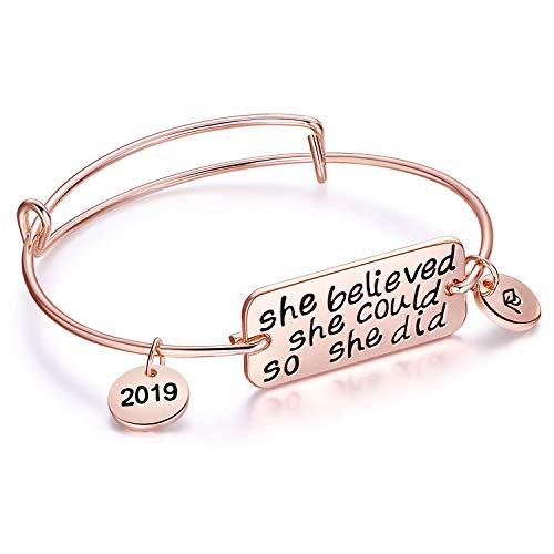 Ingooood Graduation Gift Bracelet for Women 2019 Graduation Cap Bracelet She Believed She Could So She Did Adjustable Bracelet for Women (Rose -