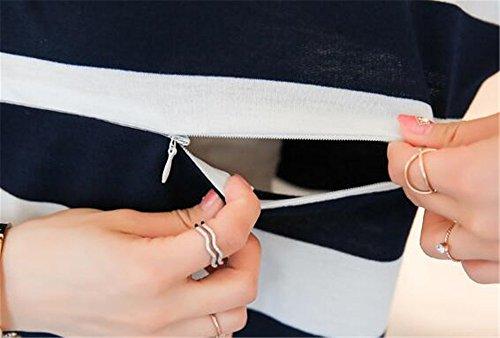 A L'Allattamento Lunghe Black Sciolto Premaman Top Camicie Pizzo Giuntura Donna per Popolare Incinta con Gravidanza T Shirt Maglietta AILIENT Maglia Righe Maniche wf10qIxa