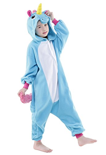 Olasante Unisex Child Kid Blue Pegasus Cosplay Costume Pajamas Masquerade Costume Jumpsuit Outfit,10-125