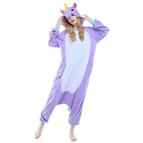 [NEWCOSPLAY Children Unicorn Fleece Pajamas Unisex Cartoon Costume (125, Pegasus horse purple)] (Unisex Halloween Costumes)