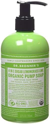 Dr. Bronner's Organic Sugar Soap - 4-in-1 Shikakai Pump Soap - (Lemongrass Lime, 12 oz)