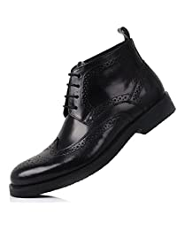 Leather Oxford Brogue Wingtip Mens Lace up Boots Dress Leather Military Shoes