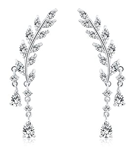 Osiana Womens CZ Crystal Leaf Ear Wrap Cuffs Climber Earrings Sweep Stud Earring Pin