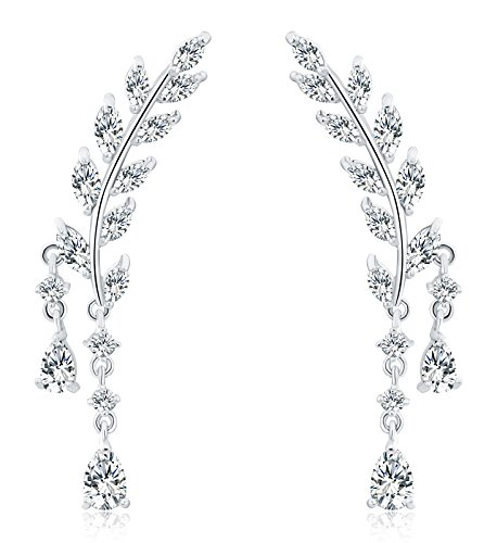 (Osiana Womens CZ Crystal Leaf Ear Wrap Cuffs Climber Earrings Sweep Stud Earring Pin Color Silver)