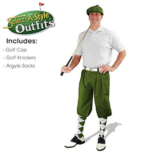 Golf Knickers Mens Select-A-Style Outfit - Olive - Waist 40 - Sock - OL/NY/KH by Golf Knickers